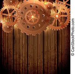 Steampunk background with gears - Abstract industrial...