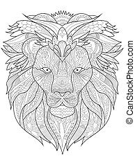 Lion Coloring vector for adults - Lion coloring book for...