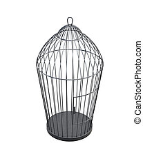 Metal bird cage isolated on white background. 3d rendering.