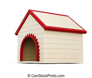 Wooden dog house isolated on white background. 3d render image