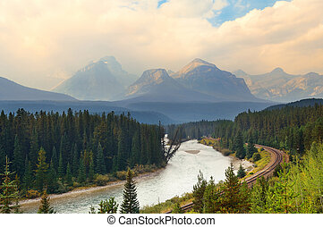 Mountain river and railway