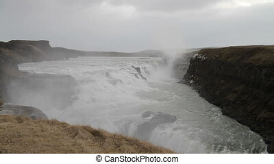 Gullfoss waterfall - The famous Gullfoss waterfall in...