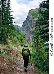 Banff National Park - A female hiker in Banff national park...