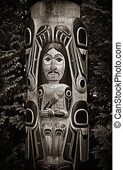 Totem Pole in Capilano park, Vancouver, Canada