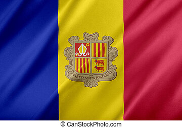 Flag of Andorra. fluttering in the wind.