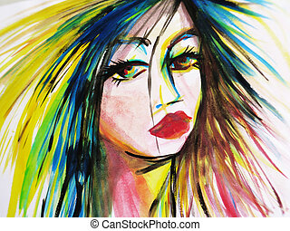Abstract watercolor of beautiful woman face - Abstract...