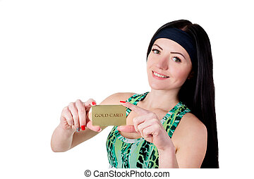 Smiling brunette girl with long hair showing gold credit...