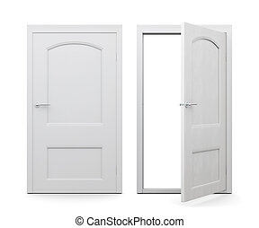 Open and closed doors isolated on white background. 3d rendering