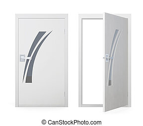 Doors isolated on a white background. 3d rendering