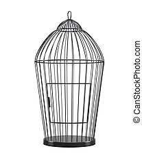 Metal bird cage isolated on white background. Front view. 3d...