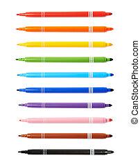 Felt-tip pen marker isolated over the white background, set...