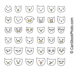 Emotions large set 36 pieces . Cat Smile. Emoji  cats.
