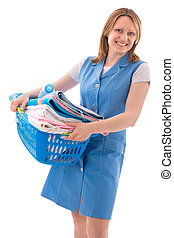 basket of laundry - woman holding basket of laundry and...