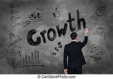Grow your business Rear view of young man in full suit...