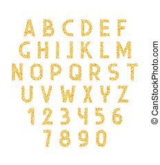 Font gold. Alphabet of placer gold