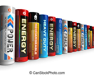 Row of different AA batteries