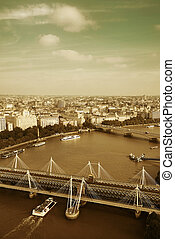 London Aerial View - City aerial view from London Eye over...
