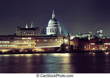 St Pauls Cathedral London - St Pauls Cathedral over Thames...