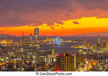 Osaka Skylines building sunset, Japan