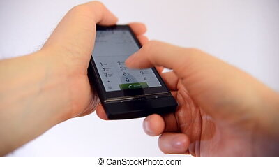 Hand touch mobile smart phone screen