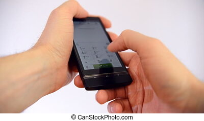 Hand touch mobile smart phone screen - Human hand touch...