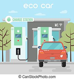 Electric Car. Eco Car on Charging Station. Green Energy....