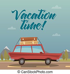 Travel Banner. Travel by Car. Vacation Time. Vector...