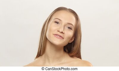 Young girl shows her smile braces White - Young girl shows...
