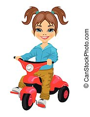 cute little girl riding a tricycle isolated over white...