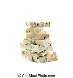 pilha, de, azul, queijo, fatias, isolado,
