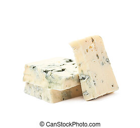 azul, queijo, pilha, isolado, fatias