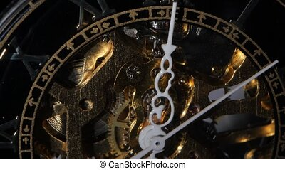 Golden Watch Mechanism Close up - Mechanism and arrows of...
