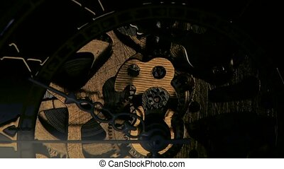 Clock mechanism Close up - Clock mechanism, interior of a...