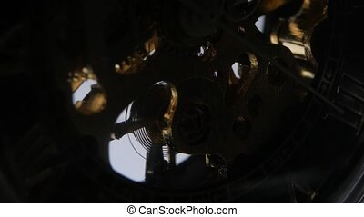 Expensive wrist watch mechanism in action Close up -...