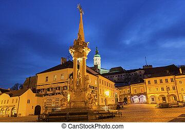 Historic Square in Mikulov in Czech Republic - Main Square...
