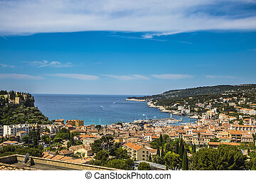 The resort town of Cassis and National Park Calanques on the...