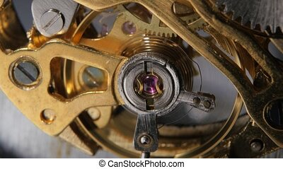 Watch mechanism Gears mechanical clock Close up - Watch...