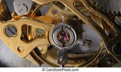 Watch mechanism. Gears mechanical clock. Close up - Watch...