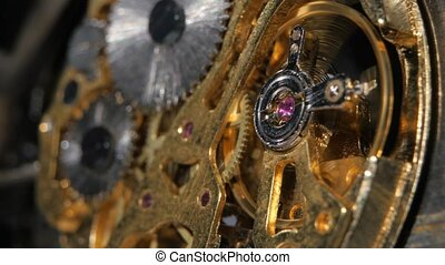 Complex movement old mechanism Close up - Gears mechanical...
