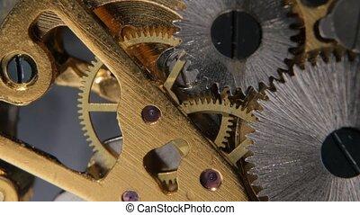 Gears mechanical clock. Close up - Gears mechanical clock,...