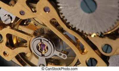 Gear system rotation. Close up - Gear system rotation, clock...