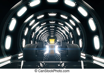 Hot Rod in tunnel - Hot Rod car in tunnel illuminated by...
