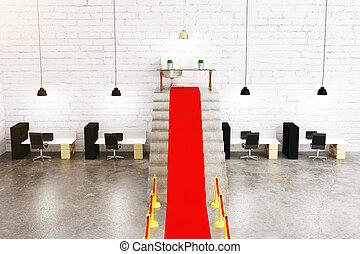 Red carpet in interior