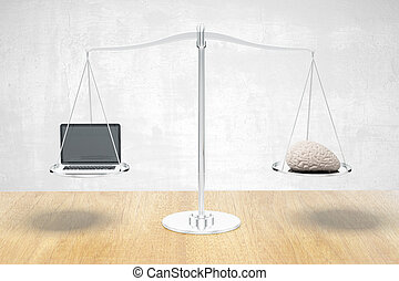 Brain and laptop on balance - Balance scale with brain and...