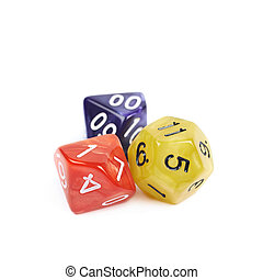 Pile of polyhedral dices isolated - Pile of colorful...