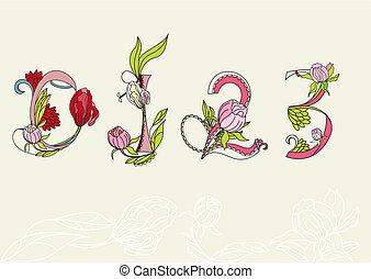 Floral font. Number 1,2,3,4