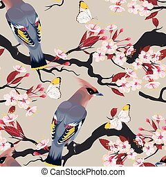 Waxwing on the cherry seamless - Waxwing on the cherry...