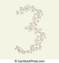 Floral font. Number 3