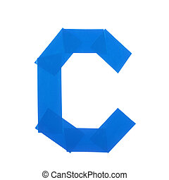 Letter C symbol made of insulating tape pieces, isolated...