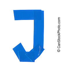 Letter J symbol made of insulating tape pieces, isolated...